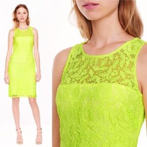 J. Crew Neon Lace Shift Dress In Yellow!